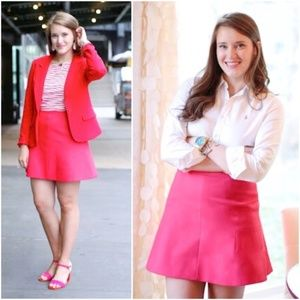 j. crew // fluted double crepe mini skirt hot pink